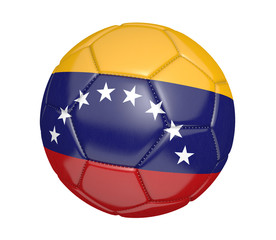 Soccer ball, or football, with the country flag of Venezuela