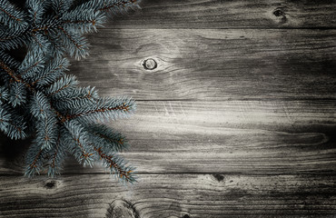 Christmas Tree on aged wood