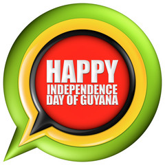 Guyana Happy National Day with flag in 3d