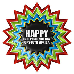 South Africa, Happy Independence Day with flag in 3d