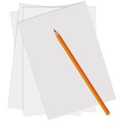Изолированный Белый Лист Бумага Простой Карандаш