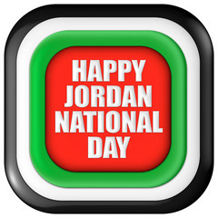 Jordan, Happy National Day with flag in 3d