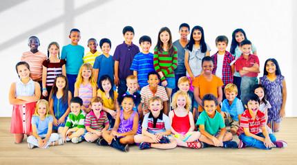 Kids Children Diversity Happiness Group Concept