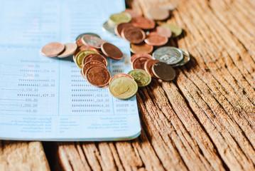 Thai money bath and Saving Account Passbook