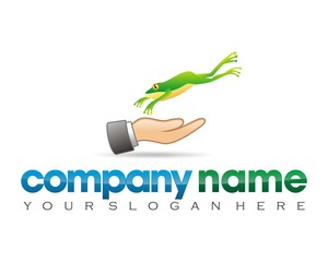 frog toad hand logo image vector