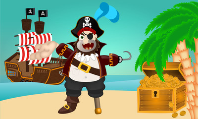 Treasure Island with pirate and treasur and pirate ship