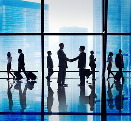 Silhouette Group Business People Handshake Concept