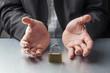 businessman hands displaying padlock at work