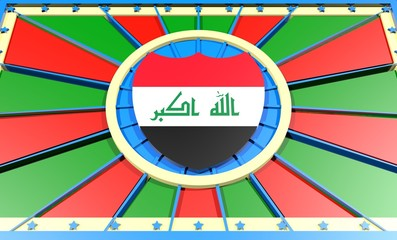 iraq flag on shield in center of sun burst banner