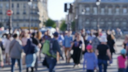 Pedestrian Commuter Crowd Walking Paris, France