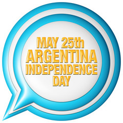 Argentina Revolution Day with flag in 3D on white background