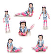 Collection of photos cute smiling little girl in roller skates