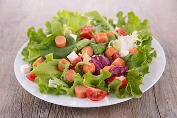 fresh salad with sausage