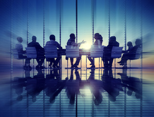 Group Business People Meeting Back Lit Concept