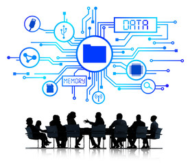 Business People in a Meeting and Data Concept