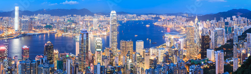 Foto op Canvas Asia land Hong Kong skyline at night