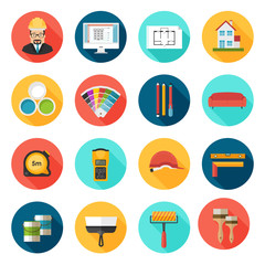 Architecture, Interior design and repairs vector colorful icons