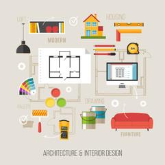 Architecture and interior design concept with architecture vecto