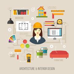Architecture and interior design concept. Business women archite