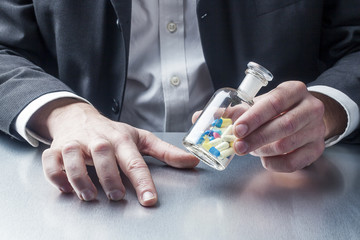 flask of pills for symbol of healthcare as pharmacy business