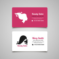 Beauty Salon business card design template with beautiful woman'