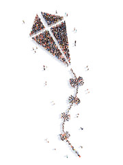 people in the form of a kite.