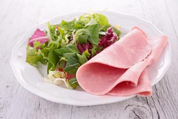 salad and fresh ham