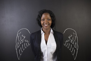 African American woman teacher angel with chalk wings