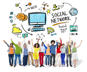 Social Network Social Media Diversity People Celebration Concept