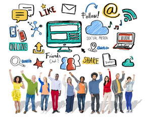 People Celebration Global Communications Social Media Concept