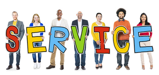 Diverse Group of People Holding Text Service Concept
