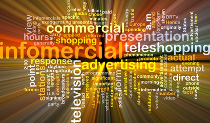 infomercial wordcloud concept illustration glowing
