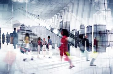 Shopping Mall Team Friendship Community Urban Scene Concept