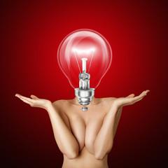 lamp head beautiful naked woman