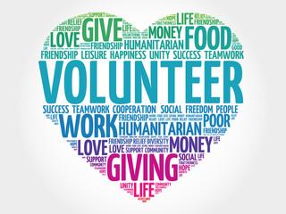Volunteer word cloud, heart concept