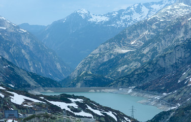 The Grimsel Pass summer landscape with lake (Switzerland).