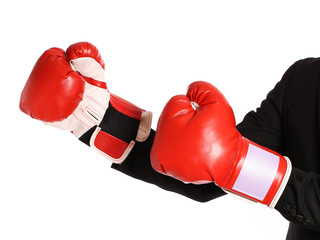 Businessman with boxing gloves isolated on white