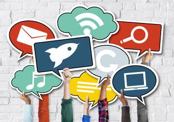 Diverse Hands Holding Speech Bubbles Concept