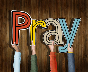 Group of Diverse People's Hands Holding Pray