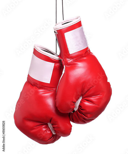 Fotobehang Vechtsporten Pair of leather boxing gloves isolated on white