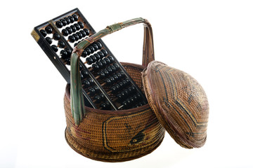 Abacus and old Chinese basket