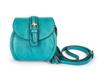 light blue female bag on an isolated white background