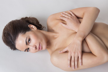 High angle view of a naked woman