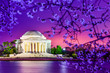 Jefferson Memorial at night in Spring