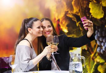 Two beautiful women having fun in a wine bar