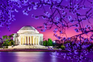 Jefferson Memorial at night in Spring