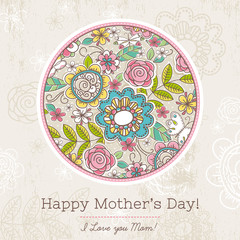 Mother's Day card with big round of spring flowers,  vector illu