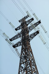 Power lines and electricity pylon