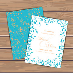 Greeting cards with grunge leaves