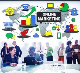 Online Marketing Branding Global Communication Analyzing Concept